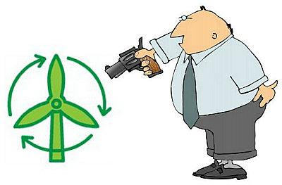 man shoots turbine